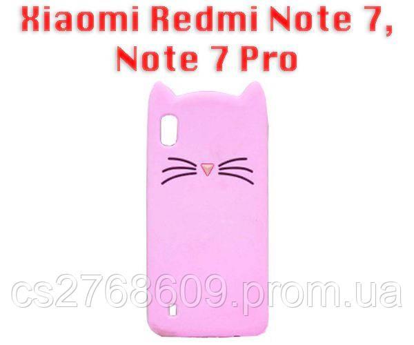 "Чехол силікон ""Кіт"" Xiaomi Redmi Note 7, Note 7 Pro рожевий"