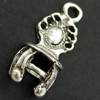 Кулон Стул, Металл, Цвет: Античное Серебро, Размер: 22х9х5мм, Отверстие 2мм, (УТ000008041)