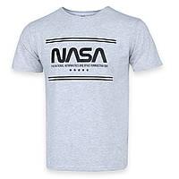 Футболка мужская бел меланж с принтом NASA Ф-10 WHTGRI XXL(Р) 19-626-020