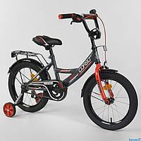 """Велосипед 16"""" дюймов 2-х колёсный """"CORSO"""" CL-16 P 4405 (1)ЧЕРНО-КРАСНЫЙ, ручной тормоз, звоночек, доп. колеса"""