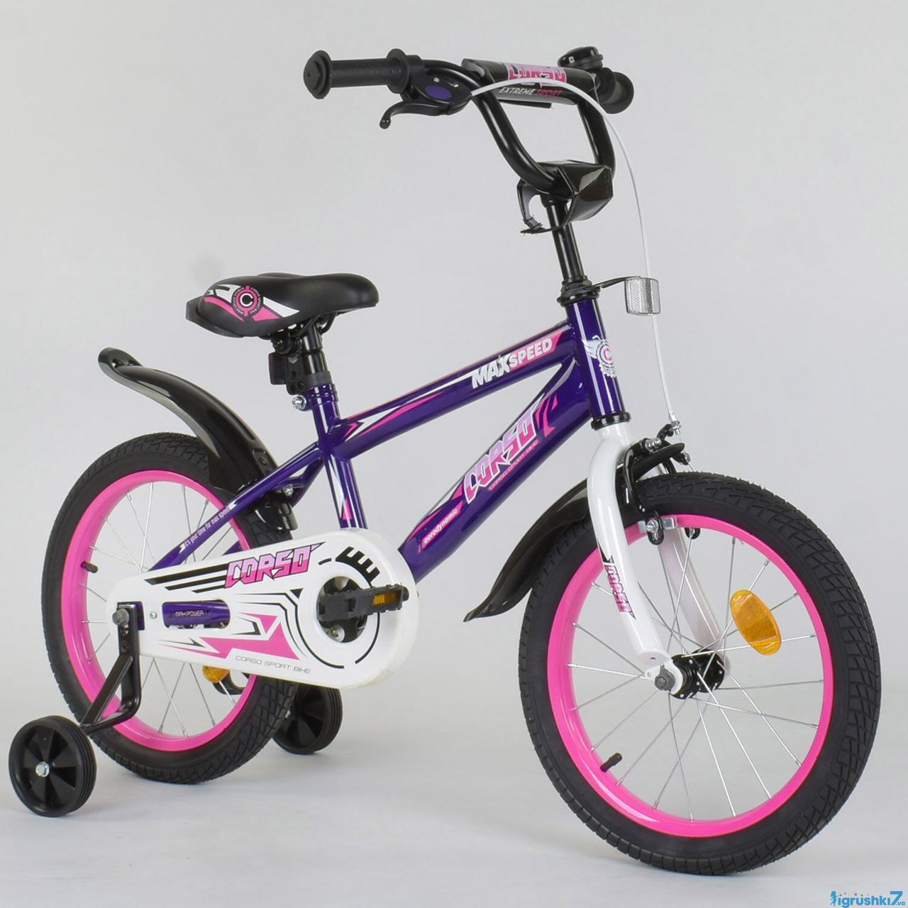 """Велосипед 16"""" дюймов 2-х колёсный """"CORSO"""" ЕХ - 16 N 4282 (1) ФИОЛЕТОВЫЙ, ручной тормоз, звоночек, доп. колеса"""