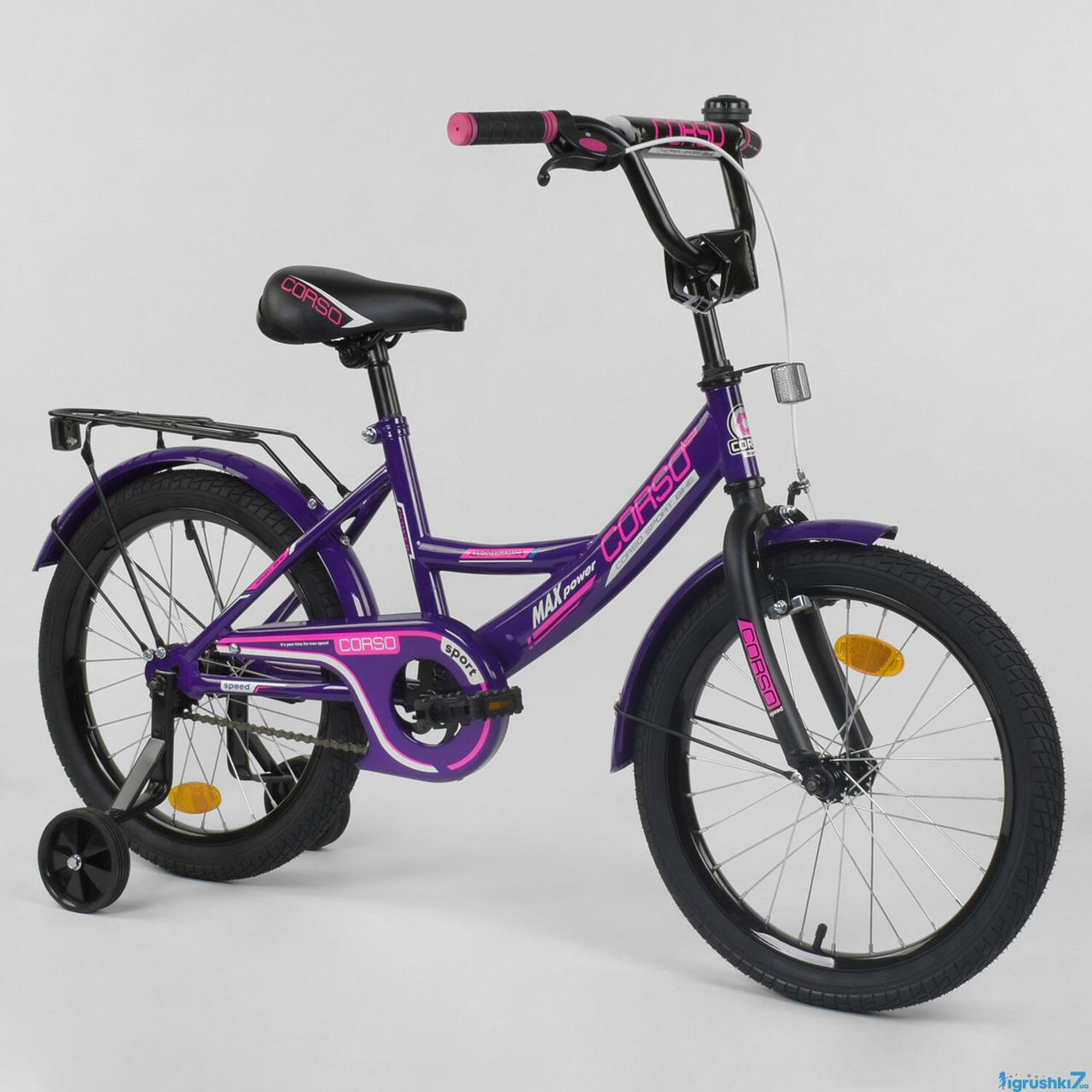 """Велосипед 18"""" дюймов 2-х колёсный """"CORSO"""" CL-18 R 5020 (1) ФИОЛЕТОВЫЙ   , ручной тормоз, звоночек, доп. колеса"""