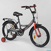 """Велосипед 18"""" дюймов 2-х колёсный """"CORSO"""" CL-18 R 0059 (1) ЧЕРНО-КРАСНЫЙ, ручной тормоз, звоночек, доп. колеса, фото 1"""
