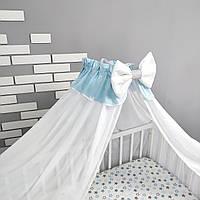 Балдахин на детскую кроватку из шифона в бело-голубом цвете