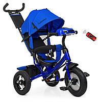 Детский велосипед трехколесный  для мальчика TURВOТRIKЕ синий индиго  лен музыка фары сиденье игровая панель
