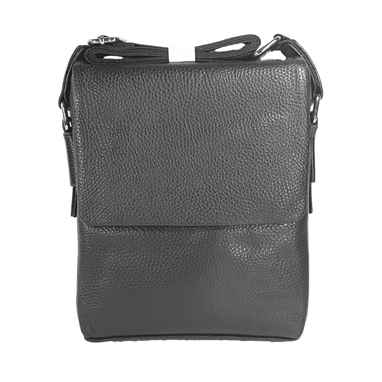 Мужская сумка из натуральной кожи с клапаном, средняя