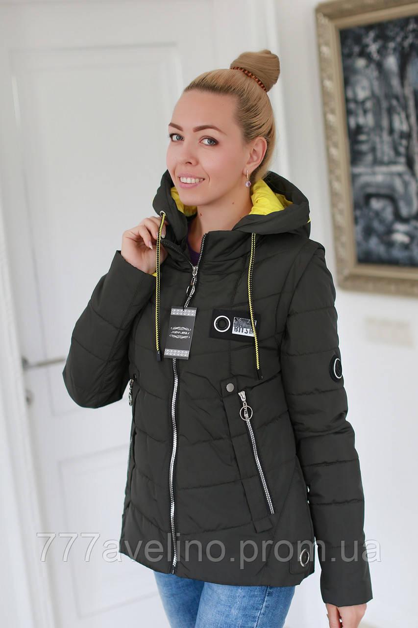 Куртка женская демисезонная трансформер в жилет (размеры с 42 по 52)