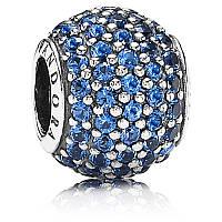 Подвеска-шарм голубой шар паве из серебра 925 пробы пандора (pandora)