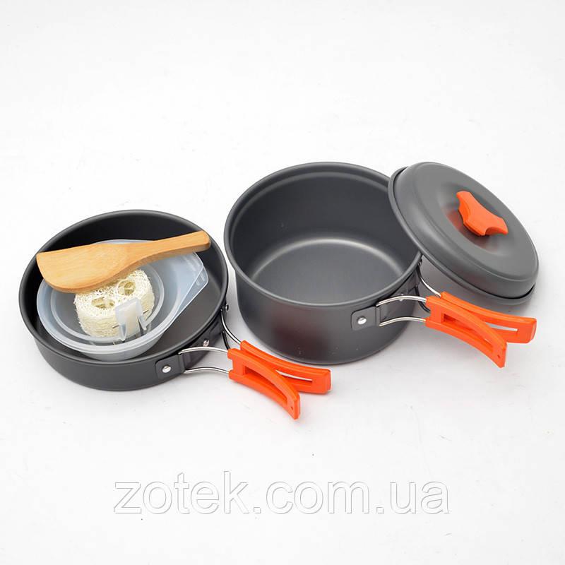 Набір посуду DS-200 Помаранчеві ручки на 1-2 чоловік з анодованого алюмінію туристичний кемпінг похідний