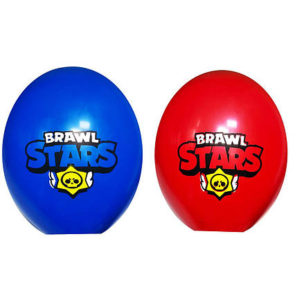 """Повітряна куля синій і червоний Бравл Старс 12"""" ,30 см (BelBal Бельгія )2 шт"""