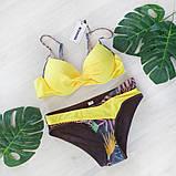 Купальник женский раздельный с асимметричными плавками (желтый) L, фото 4