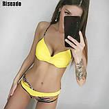 Купальник женский раздельный с асимметричными плавками (желтый) L, фото 2
