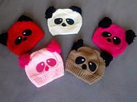 Детская шапка Панда, шапочка деми до 3 лет