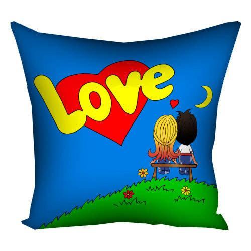 """Подушка з принтом """"Lovе…""""  синяя - Подарок для влюбленных - Подарок на День Святого Валентина"""