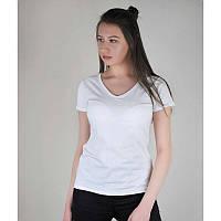 Женская хлопковая однотонная футболка с V-образным вырезом белая - XS, S, XL, фото 1