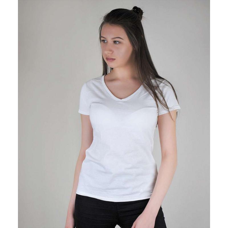 Женская хлопковая однотонная футболка с V-образным вырезом белая - XS, S, XL