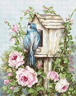 Набор для вышивки крестом Luca-S Птичий дом и розы B2352