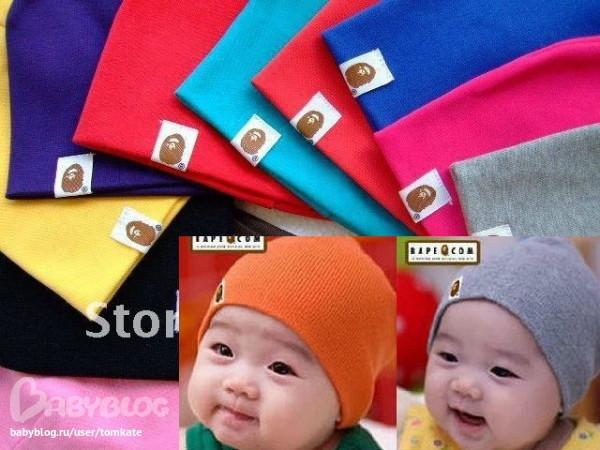 Трикотажная однотонная детская шапочка, шапка деми для мальчик до 1 год
