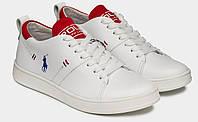 Polo Ralph Lauren! Белые стильные мужские туфли кеды слипоны из натуральной кожи