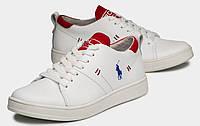 Polo Ralph Lauren! Белые стильные унисекс туфли кеды слипоны из натуральной кожи