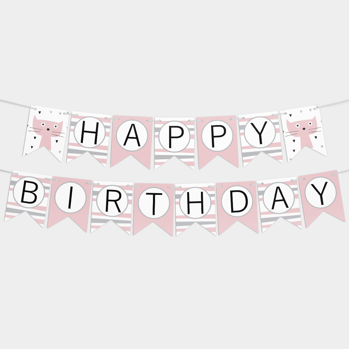 Гирлянда бумажная Happy birthday Розовая с кошечками