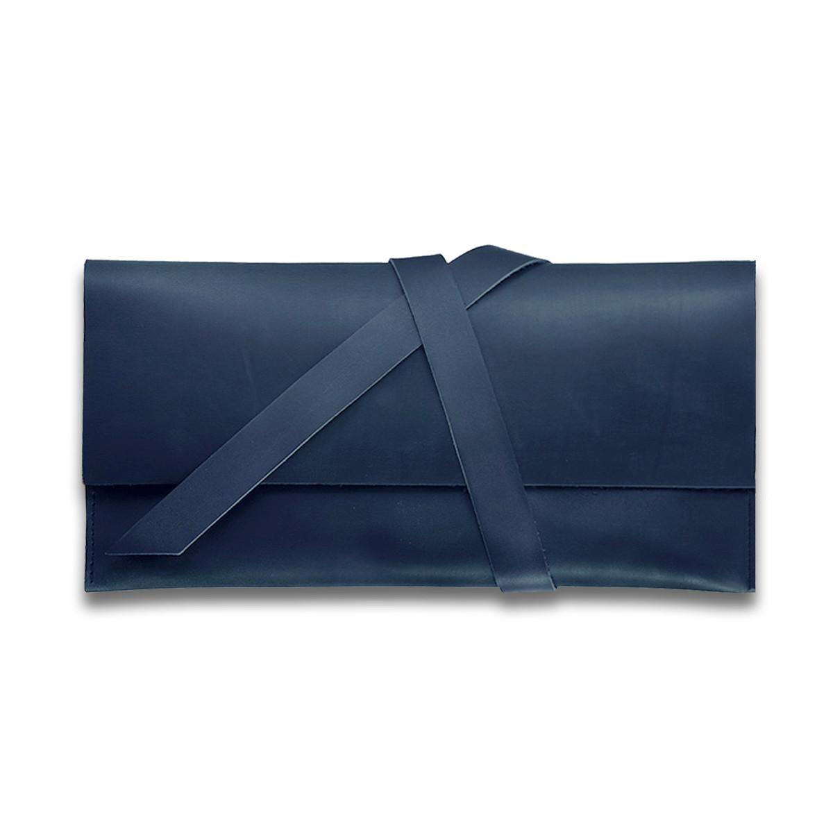 Кошелек кожаный для документов дорожный кейс Синий