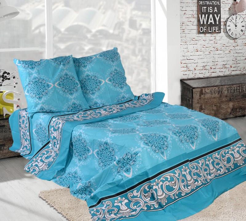 Семейное постельное белье-Снежинка бирюзовая
