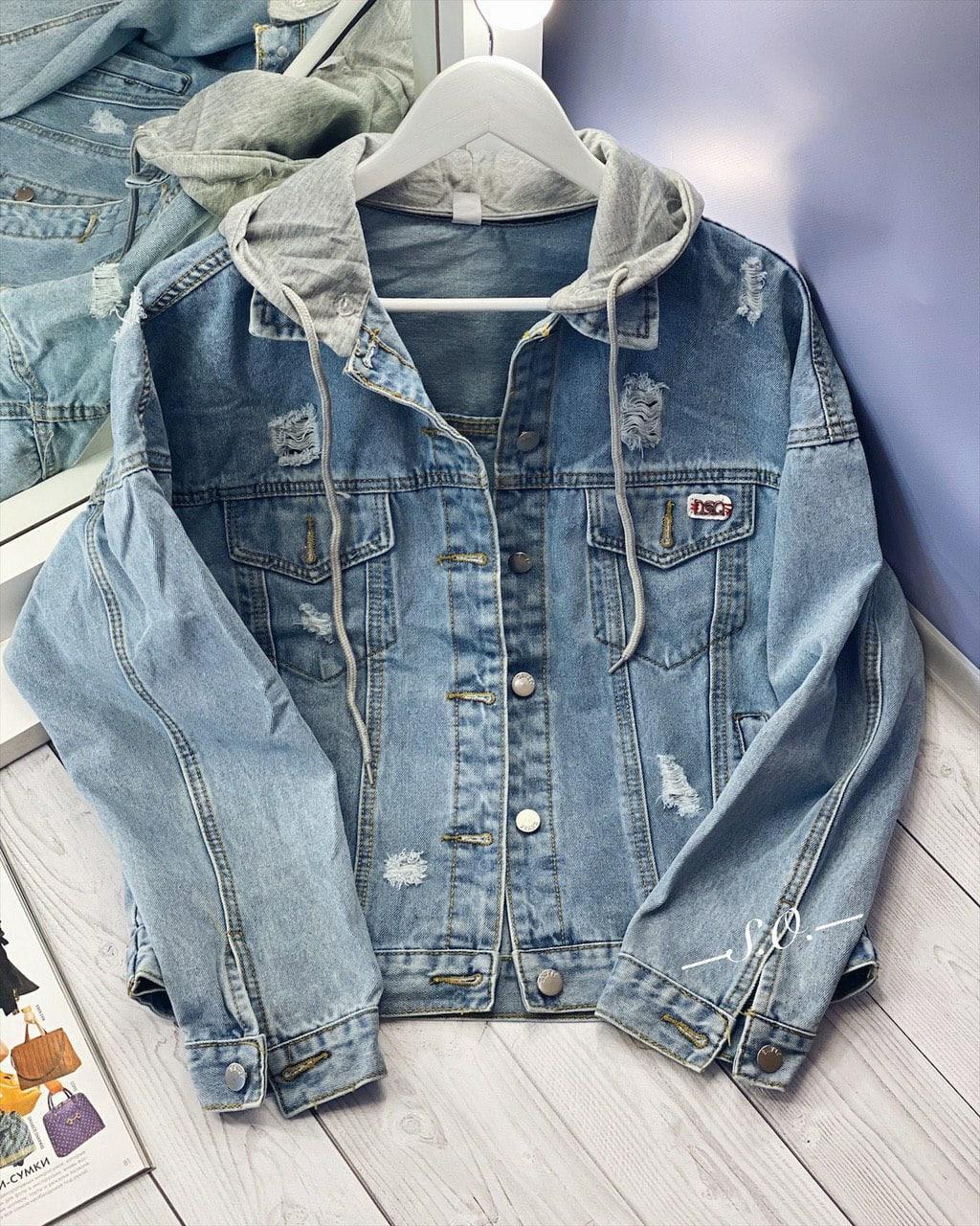 Модная женская куртка джинсовка с капюшоном