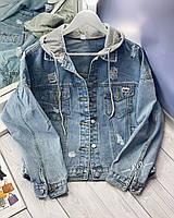 Модная женская куртка джинсовка с капюшоном, фото 1