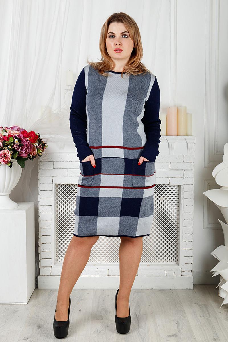 Женское вязаное платье батал Стрелочка