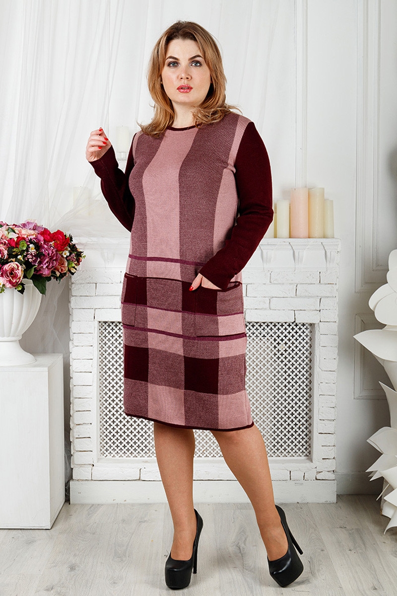 Велике в'язане плаття Стрілочка бордо