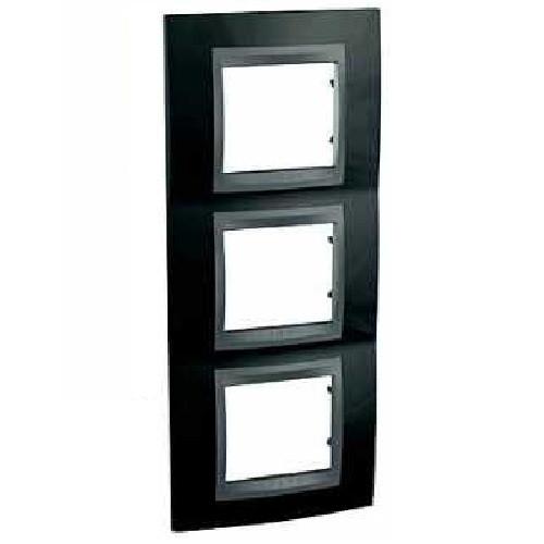 Рамка 3 пост. вертикальная Unica Top чёрный родий/графит MGU66.006V.293