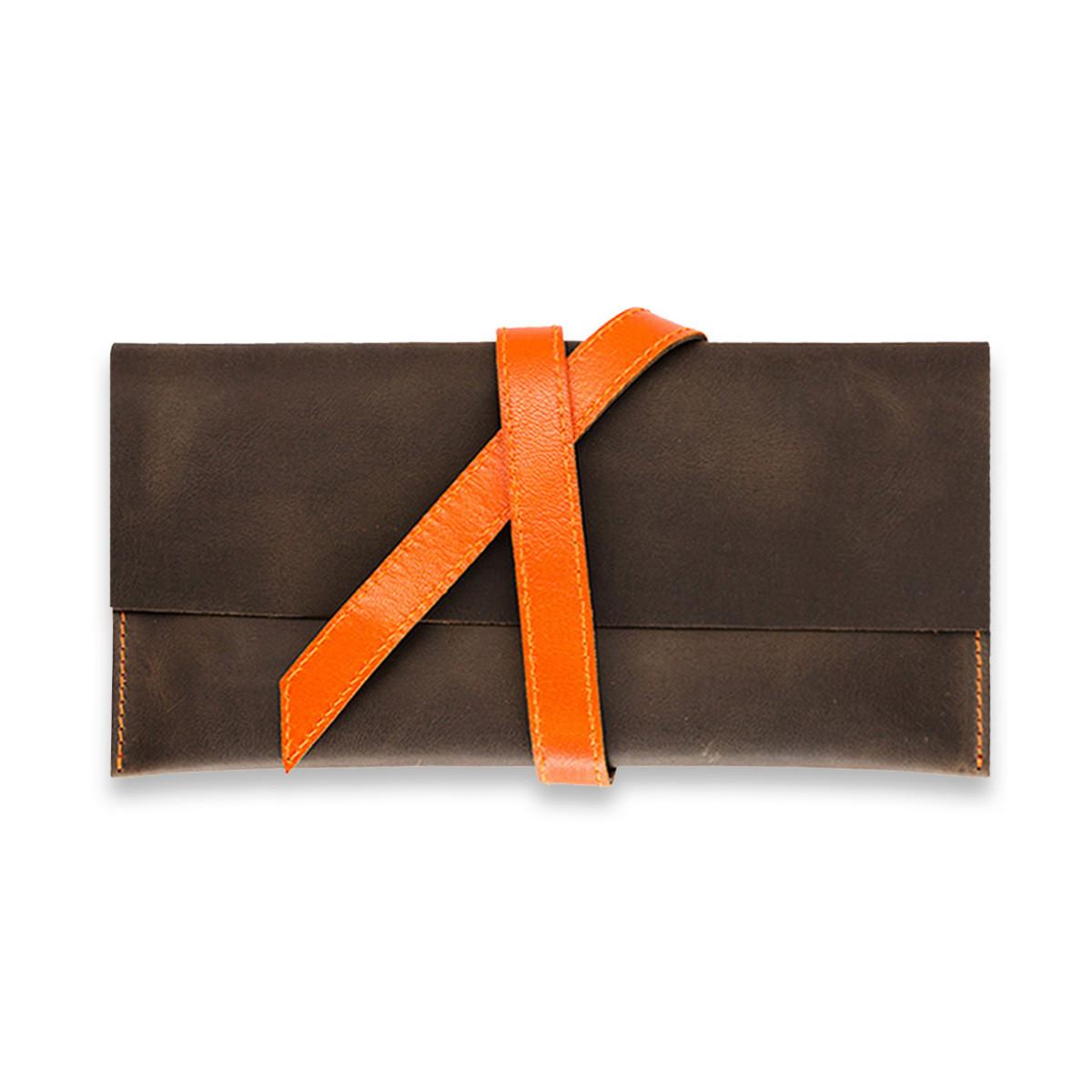 Кошелек кожаный для документов дорожный кейс Орех-апельсин