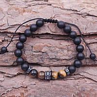 Браслет мужской BlackPink Купер на нитке из натурального камня, Черный
