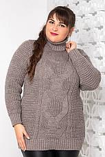 Теплий в'язаний светр великих розмірів Кукурудза бордо, фото 2