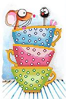 Мышка в чашках 2. Схема для вышивки