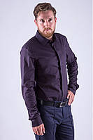 Классическая мужская однотонная рубашка графит