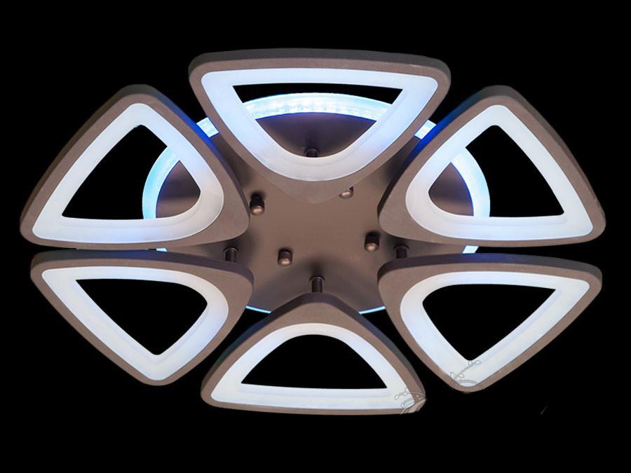 LED люстра с димером и подсветкой на 16кв.м цвет коричневый 120W Diasha&8118/6CF LED 3color dimmer