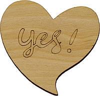 "Напис-теги сердечко ""Yes"" 5,5х6см фанера(5)"