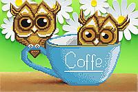 Кофейные Совушки Схема вышивки бисером