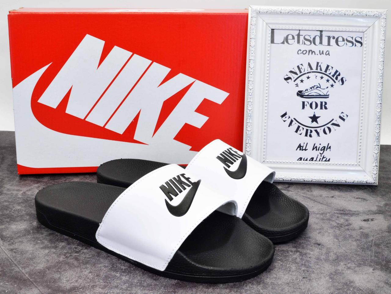 ✅ Шлепанцы мужские Nike найк белые с черным шлепки сланцы