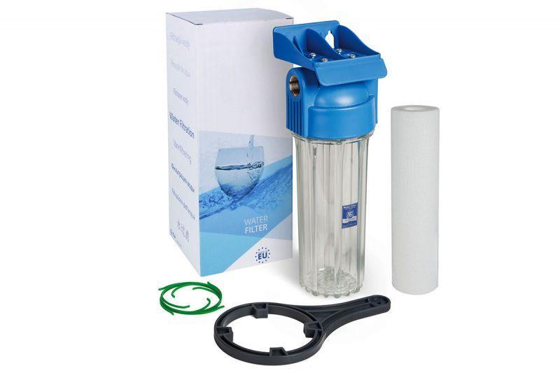 Aquafilter Корпус фильтра 10 бар FHPR12-HP1, синяя крышка, прозрачный корпус, в наборе