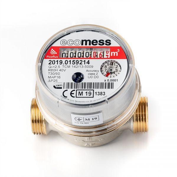 Ecomess Лічильник гарячої води Ду 15 Ecomess Picoflux короткий L=80 мм (без штуцерів)
