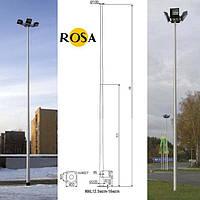 Осветительные мачты ROSA высотой от 12,5м. до 16м. со сварным основанием диаметром 225мм.