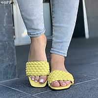 Желтые шлепанцы с плетением, фото 1