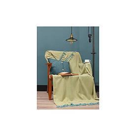 Плед Eponj Home - Iplik 200*240 Sari-Mint желтый-ментоловый