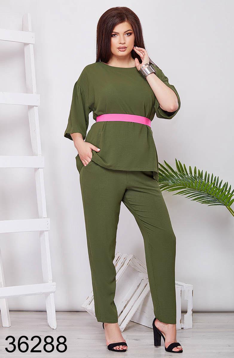 Стильный женский костюм брюки + блузка хаки р. 48, 50, 52, 54, 56, 58, 60, 62