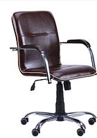 Зручне офісне комп'ютерне крісло на колесиках Самба-RC Хром горіх Мадрас дарк браун з кантом Мадрас голд беж