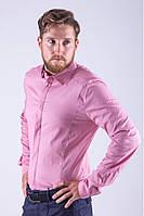 Классическая мужская однотонная рубашка розовая
