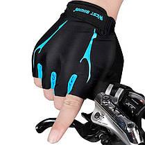 Перчатки велосипедные West Biking 0211190 M Blue без пальцев спортивные беспалые велоперчатки, фото 3